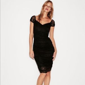 Express Ruched Lace Sheath Dress in Black, XS
